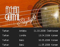 Turkish guitarist Ayhan Günyıl has posted concerts he will be playing at for Tarkan at his official site