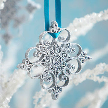 quilled glitter snowflake ornament