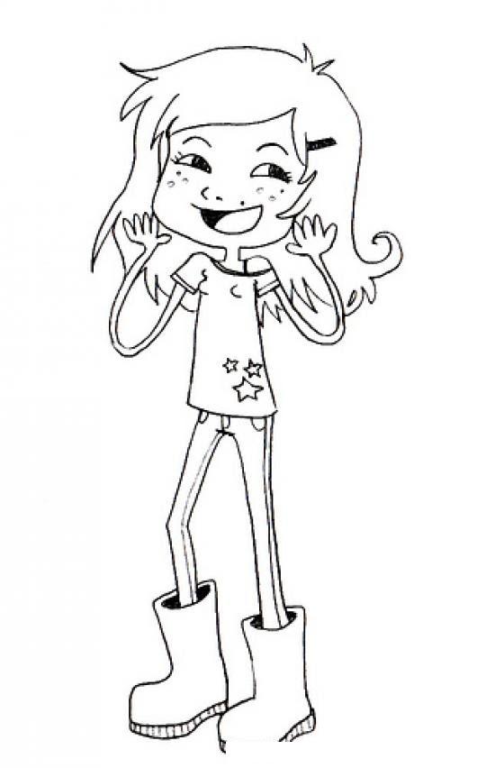 Nina Con Botas Para Pintar Y Colorear Colorear Dibujos Varios
