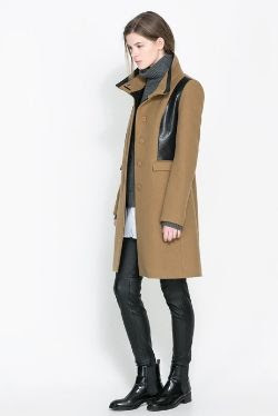 Zara Combined Faux Leather Coat