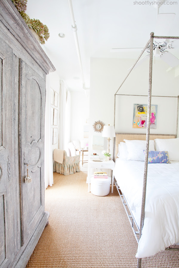 Atchison Home | Canopy Bed | Gray Armoire