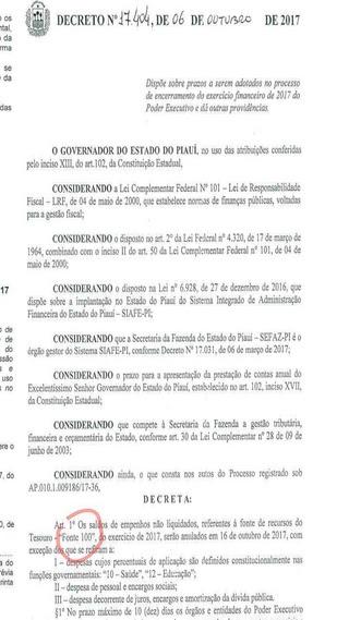 Decreto do governador do Piauí