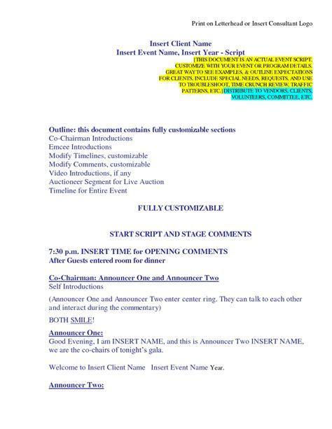 Sample script for master of ceremony