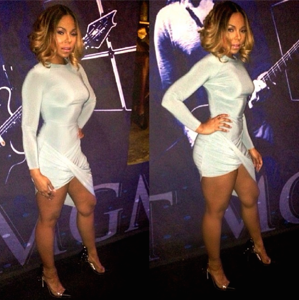 Ashanti's Pacquiao vs. Bradley Fight Celebboutique Amara Turquoise Blue Draped Long Sleeve Dress mgm grand hotel vegas 1
