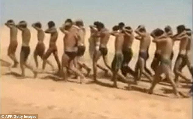Death march: Another video appearing to show the same march through the desert was put on social media