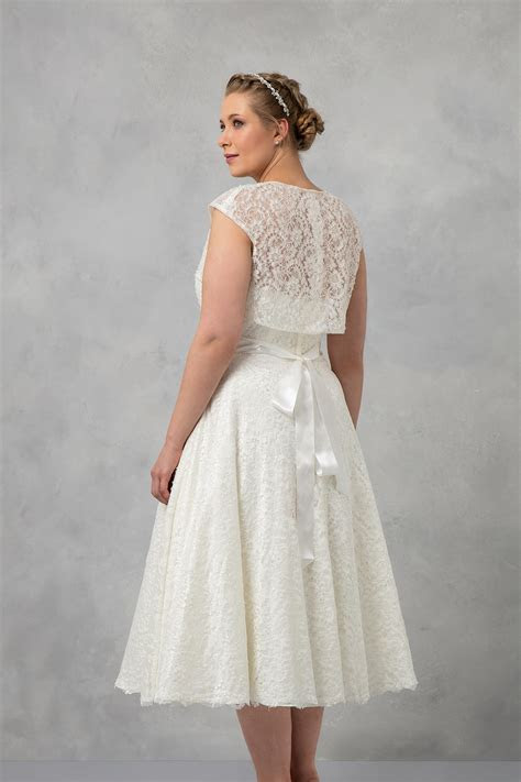 Tea Length Plus Size Wedding Dress with Shrug 9T9948