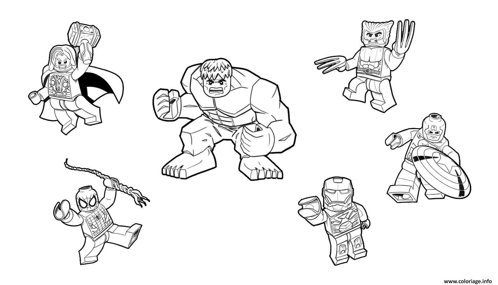 Coloriage Team Lego Marvel Hulk Ironman Spiderman Thor America