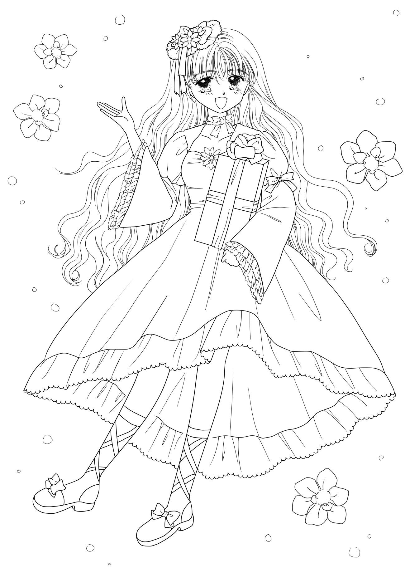 【ロイヤリティフリー】 塗り絵 女の子 かわいい - 無料の印刷 ...