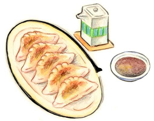 絵手紙風餃子ぎょうざギョウザ焼き餃子点心中華料理の