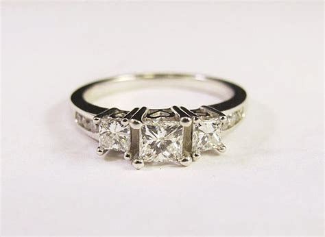 Platinum Three Stone Princess Cut Diamond Engagement Ring