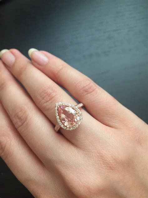 14K Rose Gold Pear Shaped Morganite Ring Style #L4825