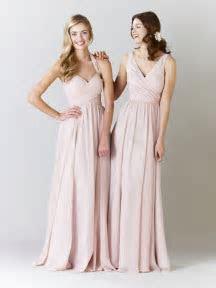 Mix and match long chiffon blush pink bridesmaid dresses