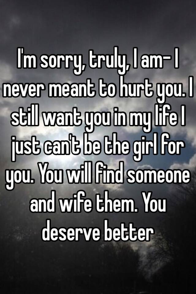 Im Sorry Truly I Am I Never Meant To Hurt You I Still Want You