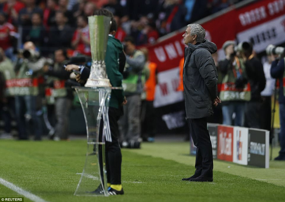 Manchester United manager Mourinho pictured on the Friends Arena touchline as kick-off edged closer in Sweden
