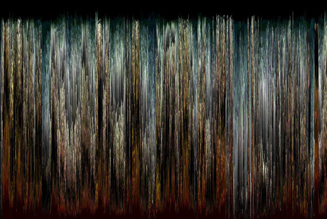 The color palette of Inception. Each vertical linerepresents the proportion of colors present averaged across several frames. Time moves from left toright.