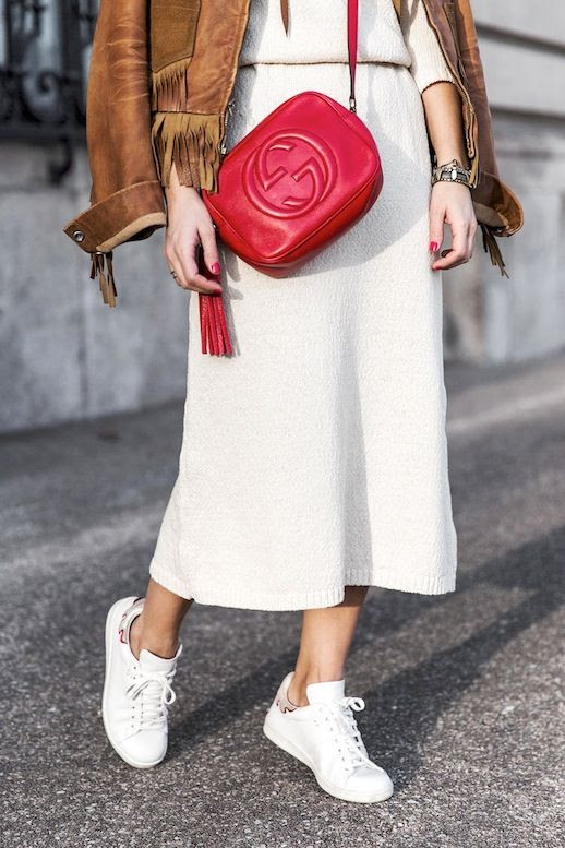 Le Fashion Blog Blogger Spring Style Brown Suede Fringe Jacket White Midi Dress Red Gucci Bag With Tassel Sneakers Via Collage Vintage