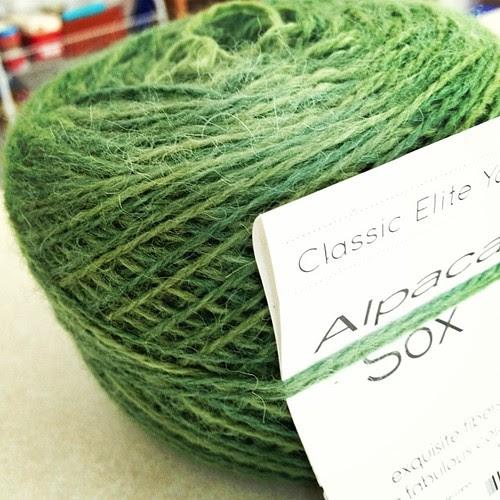 Yarn for Scott's socks. Alpaca Sox in Watercress... has anyone used it?