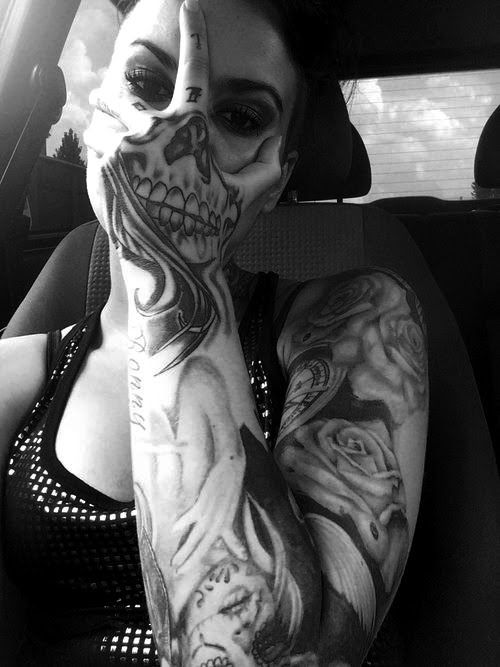 Scary Girl Black And White Cool Dope Face Awesome Queue Tattoo Skull