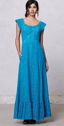 Anthropologie Flounced Lace Maxi Dress