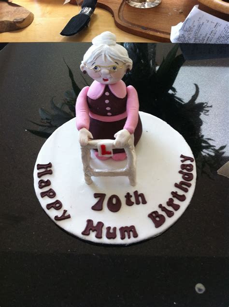 Finished cake topper  old lady with Zimmer frame for