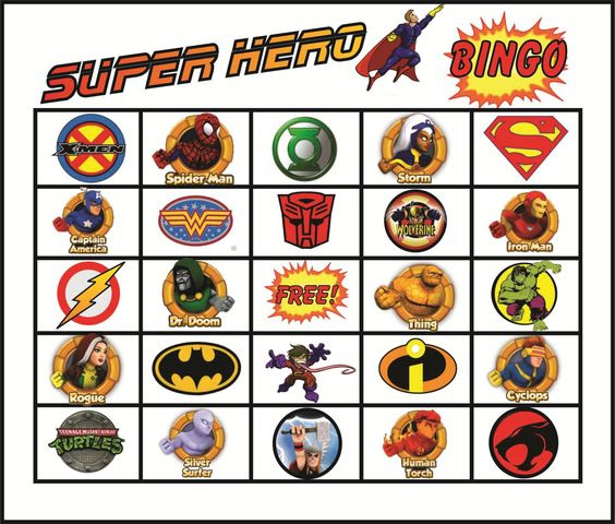 Superhero Bingo Gameboard. Printed matching cards for each square ...
