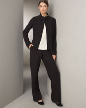 -1PBD Joan Vass Swing Knit Jacket & Straight-Leg Pants