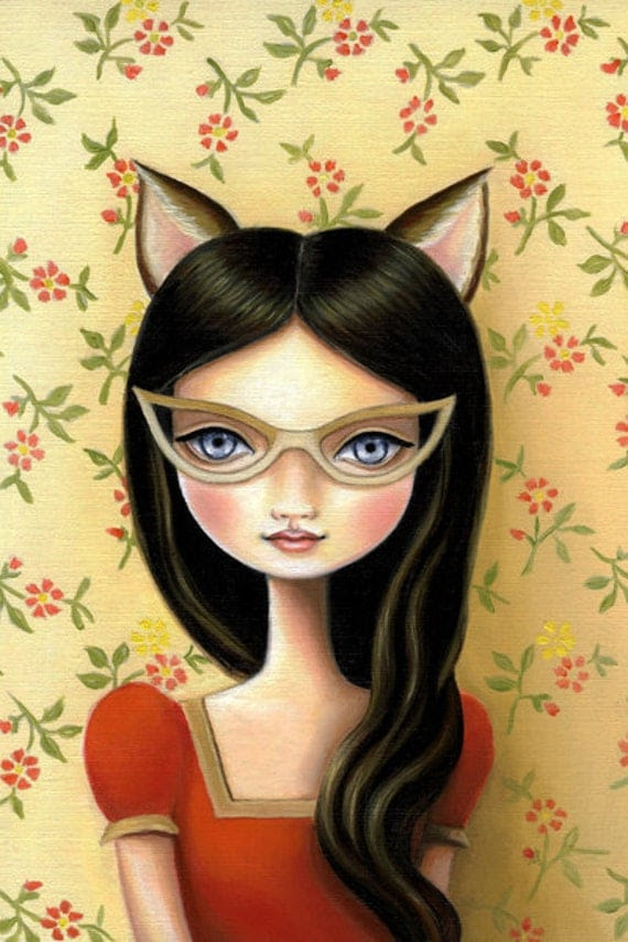 Art Print Cateye glasses poster Cat girl - Library Masquerade 13x19 LARGE print on somerset velvet - little bandit by Marisol Spoon