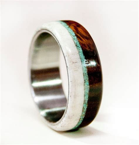 Mens Wedding Band Wood w/ Antler & Turquoise   Staghead