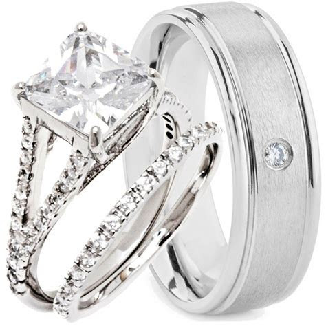 3 pcs His and Hers Wedding Rings ENGAGEMENT CZ 925