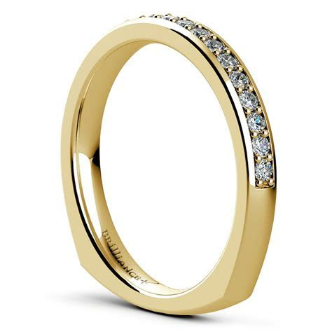 Rocker (European) Diamond Wedding Ring in Yellow Gold
