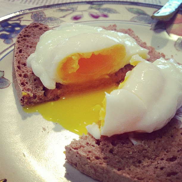 Poached eggs. Vinegar and salt added. 3 minutes.