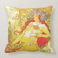 The Autumn, Alphonse Mucha - American MoJo Pillow throwpillow