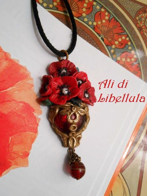 "Ali di Libellula: Parure ""RED POPPIES"""