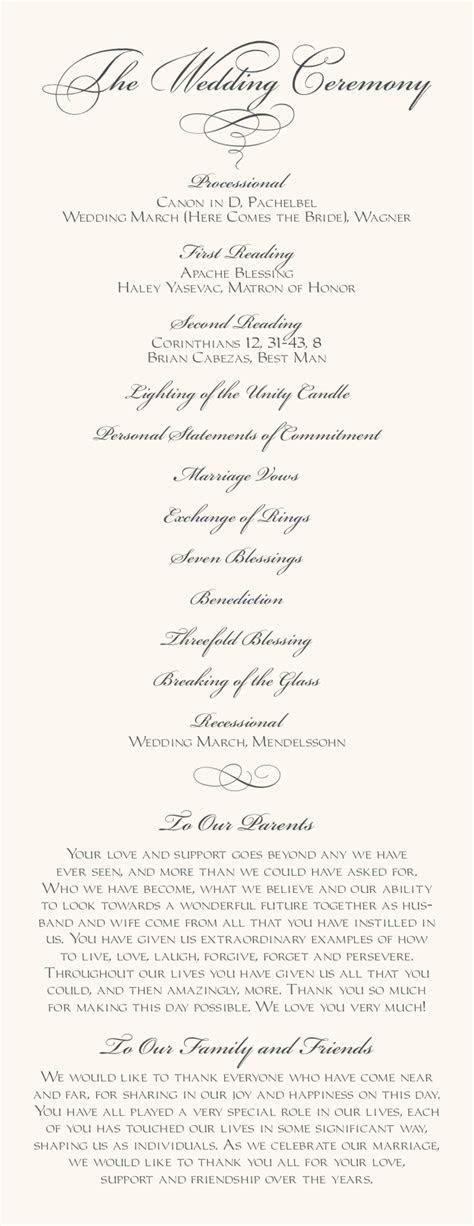 Wedding Programs Verses Order Of Service Church   Party