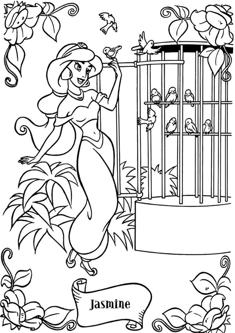 kolorowanki Dzasmina z bajki Aladyn ksiezniczka Disney 16