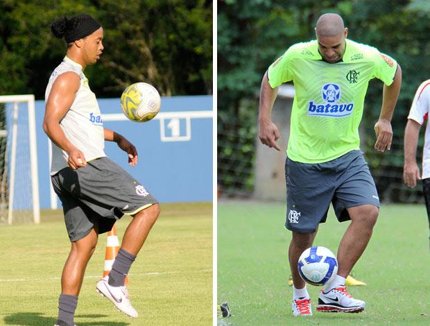 Montagem Adriano e Ronaldinho (Foto: Reprodução)