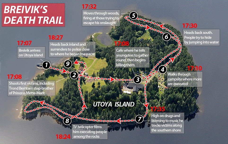 Trail of carnage: Breivik criss-crossed Utoya island during his rampage, before he surrendered to police