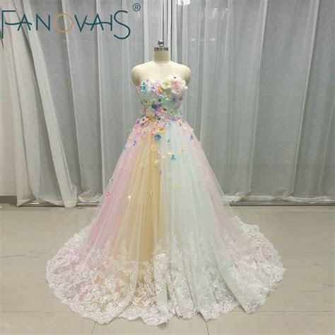 Multi color Wedding Dresses Tulle 3D flowers Bridal Gowns