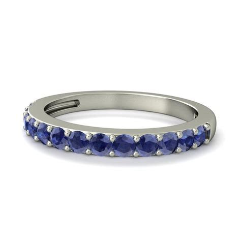 1 Carat Sapphire Wedding Ring Band in White Gold   JeenJewels