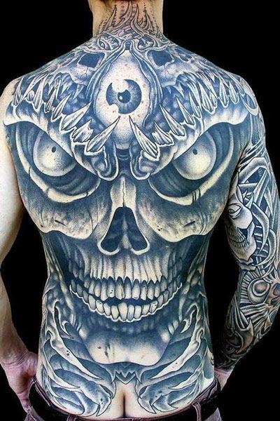 Dark Ink Skull Tattoo On Back