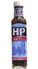 a bottle of HP Sauce - it's brown, it's saucy and you put it on bacon