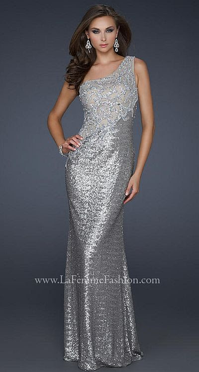 Silver glitter evening dresses