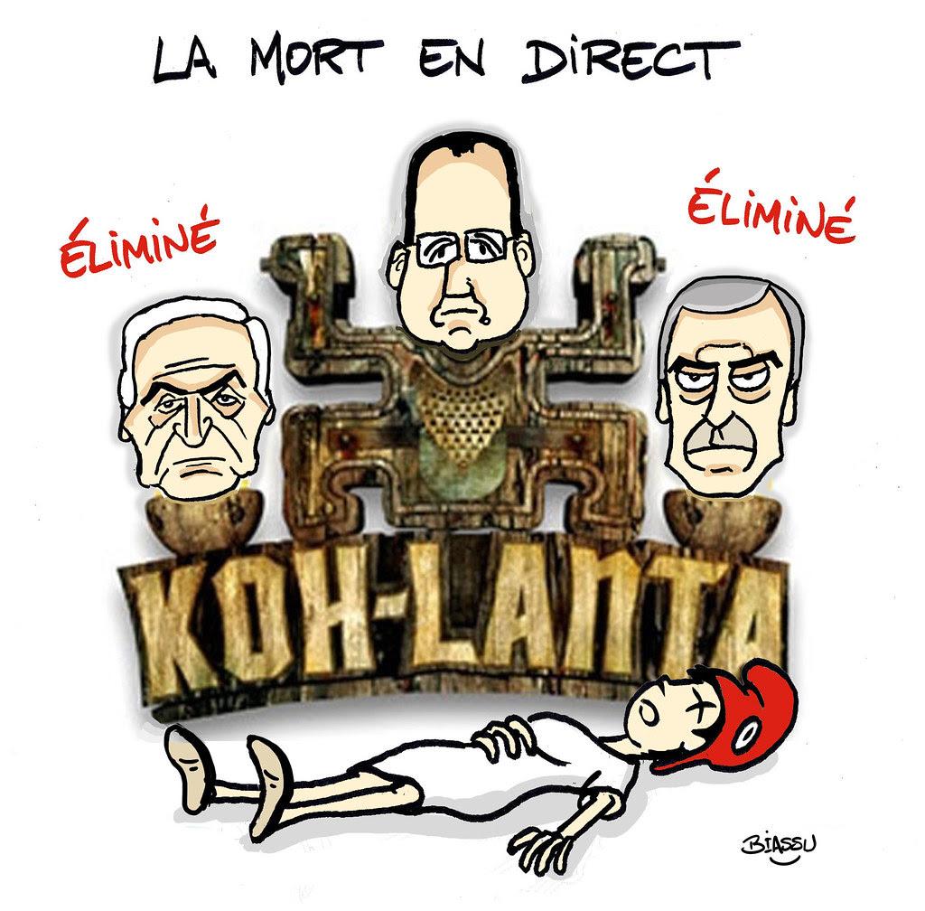 Koh+Lanta+Hollande+Cahuzac+humour+politique+Biassu