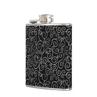 White Scrolling Curves on Black Flask