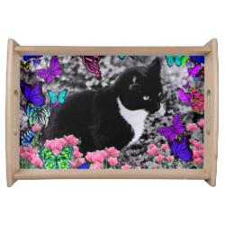 Freckles in Butterflies III, Tux Kitty Cat Serving Platter