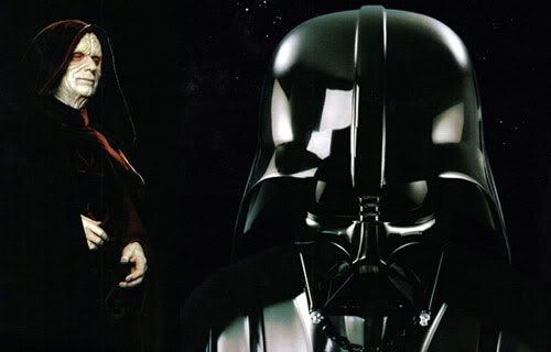 Promo pics of Episode III Darth Vader and Emperor Palpatine.