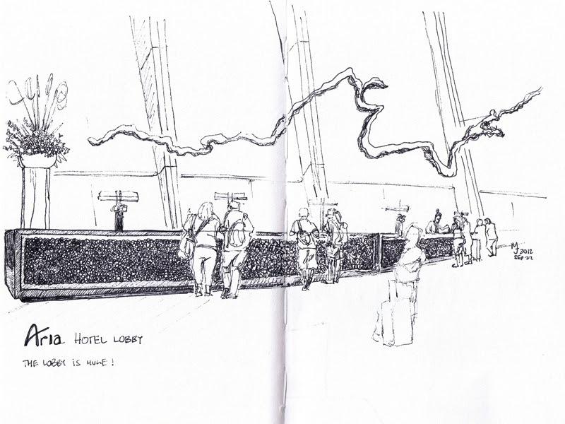 MJ SKETCHBOOK | Urban Sketching - Las Vegas : Aria Hotel Lobby