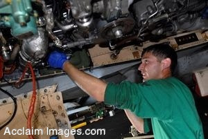 Clipart Photo of a Military Mechanic Working On an Aircraft