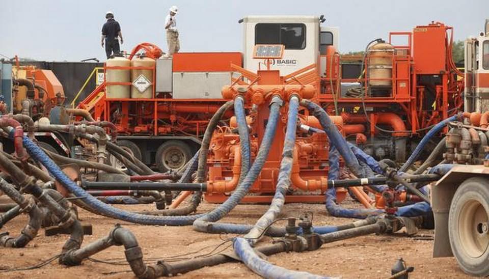 "Crews ""frack"" a deep well that runs a mile underground near Medicine Lodge (2011)"