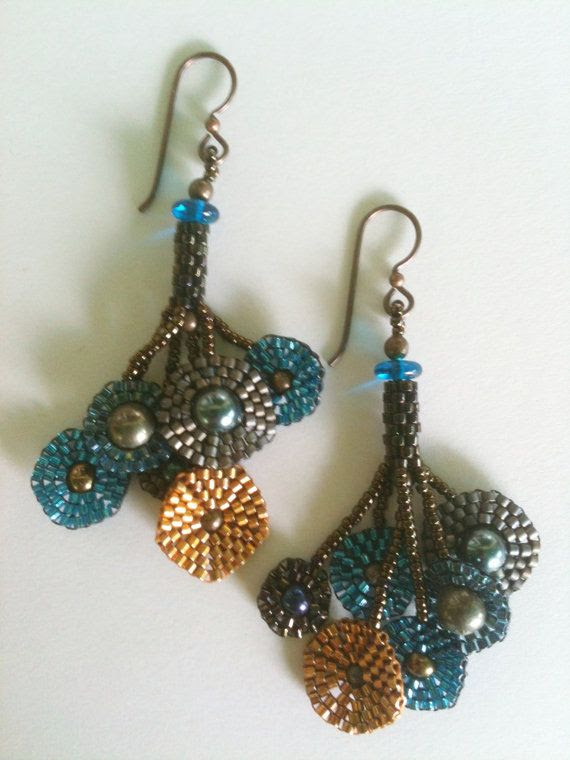 Earrings  Klimt Style MultiColor Circles Blue Gold door JekaLambert, $95.00